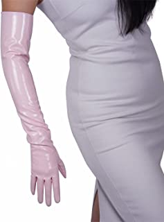DooWay Faux Patent Leather Shine Gloves Opera Costume Dress Up Halloween Party Gloves Light Pink