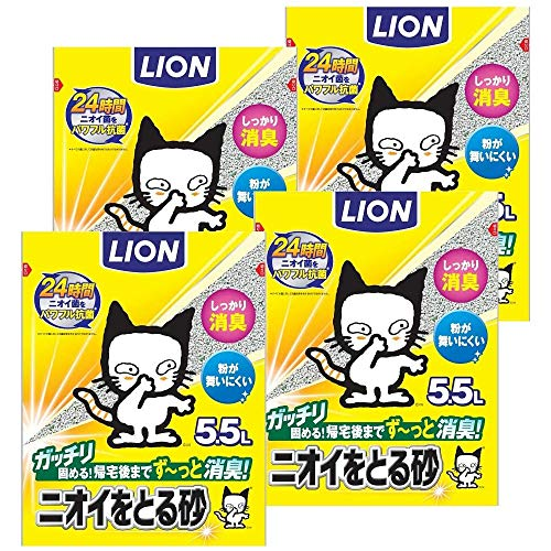 Lion Odor-Absorbing Sand, Cat Sand, 16.2 fl oz (5.5 L) x 4 Bags (Sold by Case)