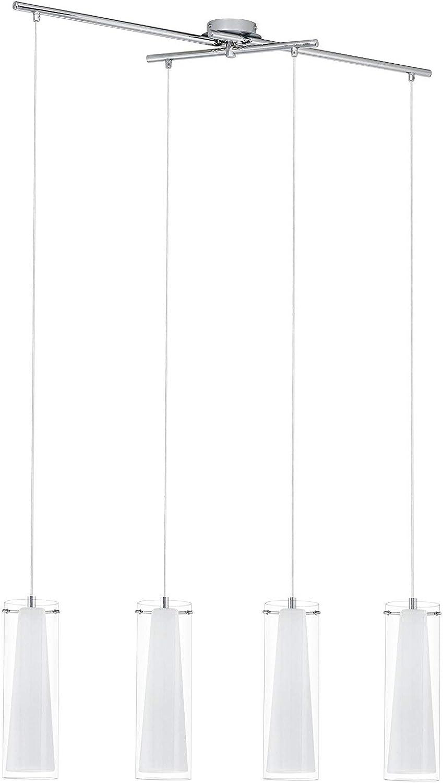 EGLO Hngeleuchte, Stahl, E27, Chrom Wei Transparent, 90.5 x 36 x 110 cm