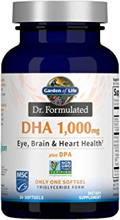Garden of Life Dr. Formulated DHA 1,000mg Fish Oil - Lemon, Once Daily 1000mg DHA + DPA in Triglyceride Form, Single Sourc...