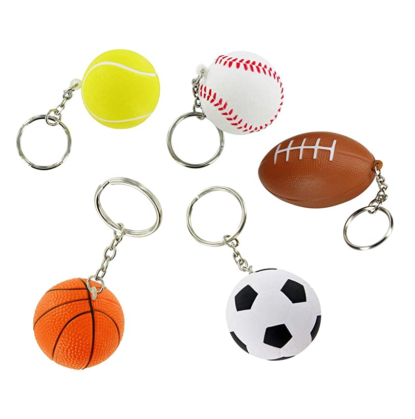 Sports Keychains Bulk 30 Pack | Kids Party Favors For Boys | Soccer, Basketball, Tennis, Baseball, Football Party Supplies Funny Keychains | 6 of Each Ball
