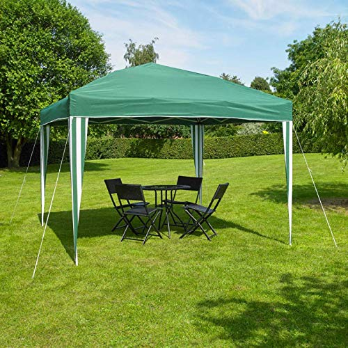 3m x 3m Outdoor Pop Up Garden Green & White Gazebo Party Tent, Waterproof & Anti-UV Heavy Duty Marquee Sun Shade Powder Coated Steel Frame