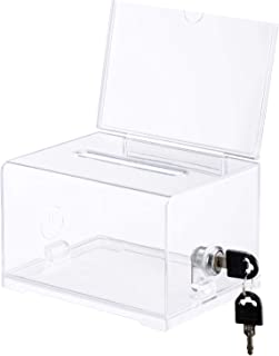 Polmart Acrylic Donation Box with Lock and Sign Holder, Ballot Box with Lock, Clear and Safe Suggestion Box with Lock - Dr...