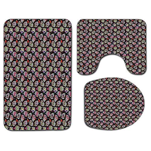 3pcs tapis de salle de bain antidérapant housse de couvercle de siège de toilette ensemble crânes ations ensemble tapis de bain antidérapant doux toutes les âmes jour floral coloré crânes de sucre fle