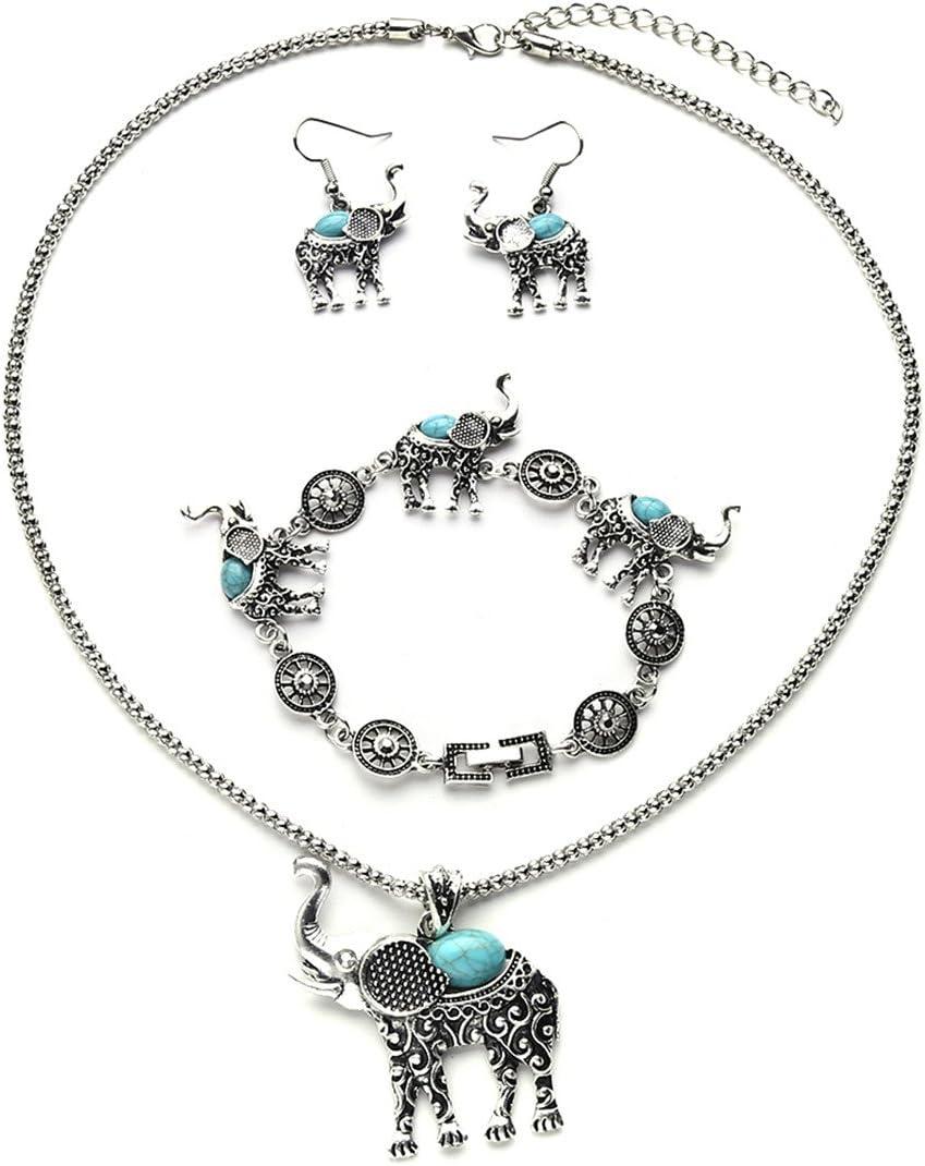 Rurah Womens Bohemian Retro Turquoise Carved Elephant Bracelet Earrings Necklace Three Piece Jewelry Set,Blue