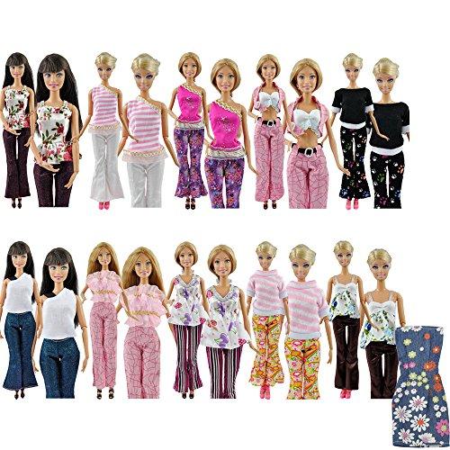 E-TING 5 Set Schöne Bluse Hose Freizeit Kleidung Kleidung Hose Für Barbie Puppen