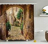 AdaCrazy von einer anderen Tür Antikes Steindorf Toskana Italienisches Tal Landschaft Dekor Duschvorhang Stoff Badezimmer Dekor Set mit Haken 71 x 71 Zoll Multicolor