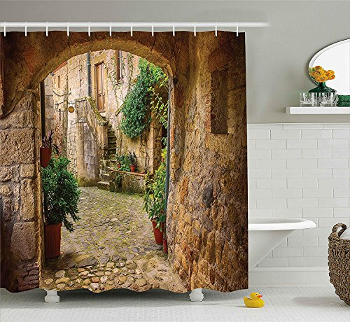 AdaCrazy Landscape from another Door Antique Stone Village Tuscany Italian Valley Scenery Decor Shower Curtain Fabric Bathroom Decor with Hooks 71x71inches Multicolor