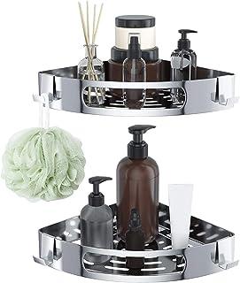 バスルームラック 浴室用ラック シャワーラック シャンプーラック 穴を開ける必要がない、強力な接着アルミニウム素材、強力な耐荷重性、バスルームの隅で使用、省スペース、高さを自由に調整可能 (2個)