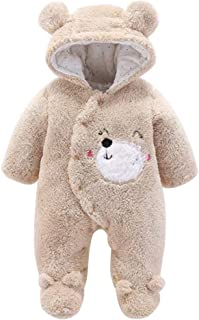 Fulision Cute Newborn Baby Unisex Winter Warm One-Piece Hooded Romper Jumpsuits Coat