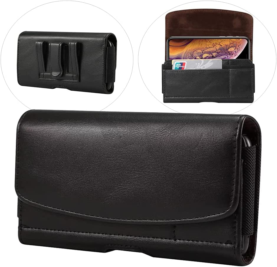Extra Large Cell Phone Belt Clip Holster Case PU Leather Pouch Holder For Samsung Galaxy S21 Ultra S20 Ultra, Note 20 Ultra 10 Plus 9 A21S A12 A70 A71, Moto G Power 2021, OnePlus 8 Pro ZTE Blade Z Max