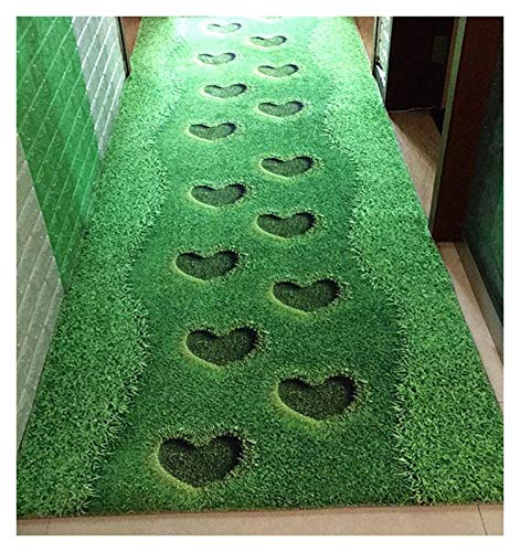 ditan XIAWU 3DCan Schlafzimmer Teppich Geschnitten Gang Wohnzimmer rutschfest Eingang (Color : Green, Size : 80x150cm)