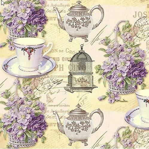 20 servetten Isabelle - Tea Time en Bloemen/Vintage/Theepot/Thee/Mok 33x33cm