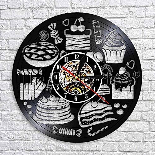 wtnhz LED-Reloj de Pared de Cocina Reloj de Pared de Caramelo Reloj de Postre Reloj de diseño Moderno Reloj de Pared de Vinilo 3D Reloj en la Pared de la Cocina