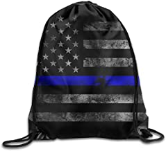 Thin Blue Line Flag Gym Drawstring Bags Backpack