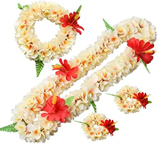 LAYSERI Hawaiian Luau Flower Leis Jumbo Necklace Bracelets Headband Set Mahalo Floral Leis (Light Pink)