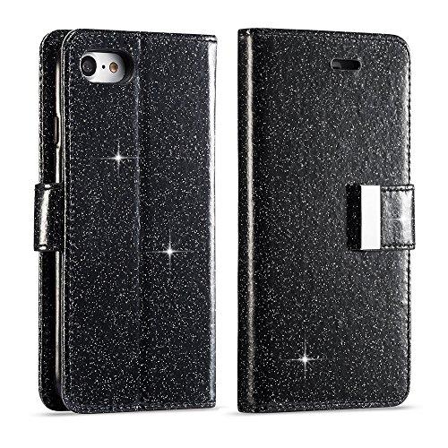 LCHULLE Für iPhone 6 Plus Hülle, 6S Plus Brieftasche, iPhone 6 Plus Lederbezug, Glänzend Funkeln Bling PU-Leder Flip Folio Ständer Brieftasche Schutzhülle mit 6 Kartensteckplätze-Schwarz
