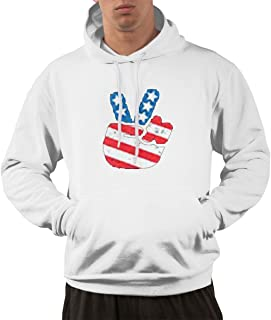 MOREMONI Hoodies for Men Jogging Men's Peace for America Sweater with Pockets