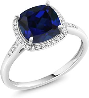 Gem Stone King 10K White Gold Blue Simulated Sapphire and Accent Diamond Women's Engagement Ring 2.50 Ct Cushion (Available 5,6,7,8,9)