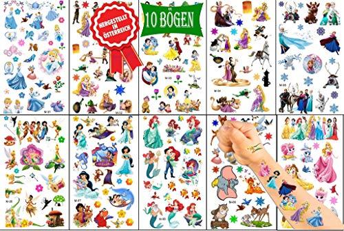 Königsherz Kinder Tattoo Set mit verschiedene Prinzessinnen mitgebsel Kindertattoos für Mädchen und Jungen Aufkleber Wasserdicht Geschenk für Kinder Temporäre Tattoos Set Kinder[10 Blätter]
