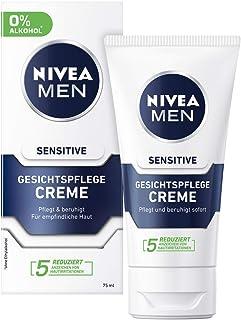 Nivea Men Sensitive gezichtscrème in verpakking van 2 stuks (2 x 75 ml), vochtinbrengende crème voor mannen met een gevoel...
