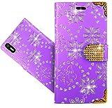 FoneExpert® BQ Aquaris X5 Handy Tasche, Bling Diamant Wallet Hülle Flip Cover Hüllen Etui Hülle Ledertasche Lederhülle Schutzhülle Für BQ Aquaris X5