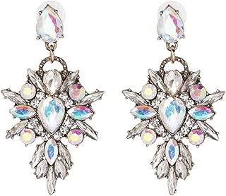 Vintage Boho Crystal Baroque Bohemian Large Long Drop Statement Earrings for Women Girls