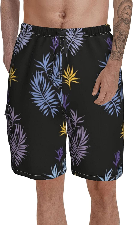 Long Swim Trunks for Men Print Summer Short Botanical Fig Fruits Bathing Suits Mid Length