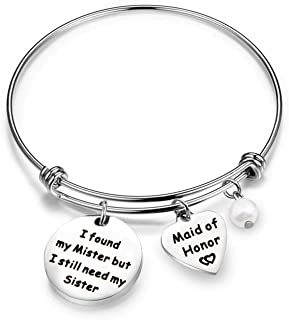 AKTAP Maid of Honor Gift Bridesmaid Bracelet I Found My Mister but I Still Need My Sister Bridesmaid Proposal Gift
