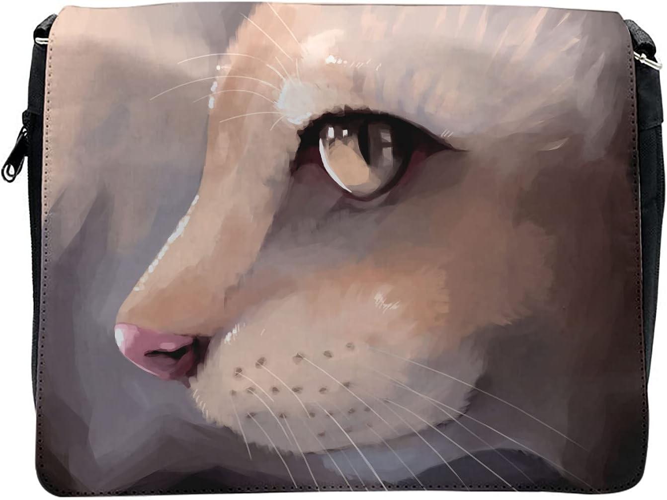Ambesonne Cream Cross Body Messenger Bag, Portrait Kitty Cat Meow, Unisex