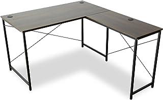 DORIS コーナーデスク ゲーミングデスク 机 パソコンデスク 幅140 L型 ホールカバー付 足元フリー設計 ウォルナット プライム