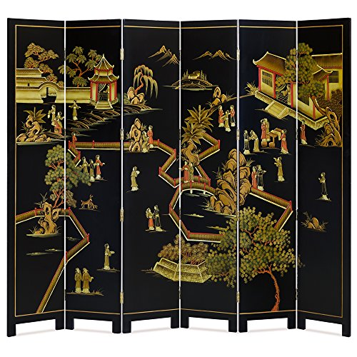 Black Color Oriental Floor Screen, Chinoiserie Courtyard Scene