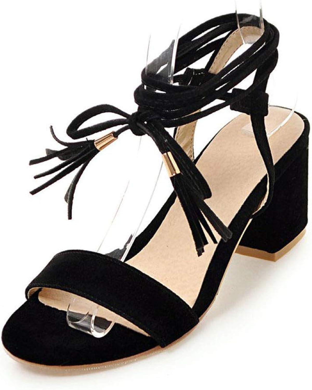 MEIZOKEN Women's Open Toe Chunky Heel Sandal Ankle Cross Strappy Fringe Pump Party Wedding Sandals
