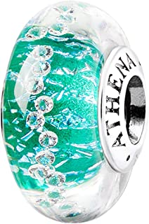 ATHENAIE Genuine Murano Verre 925 Argent Core Vert Shimmer Multi-Clair CZ Charm Beads Couleur Vert