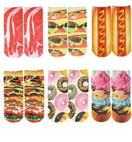 Zmart Women's Cotton Ankle Socks 3D Multi Pattern Printed Pack of 6,Multicoloured,US 5-9,Multicoloured,US 5-9