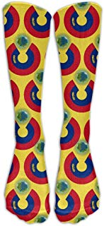 Woman Ladies Crew Long Socks Liechtenstein Flag Eat The Earth Compression Soccer Splints Girl's Sport Stocking for Medical,Athletic,Edema,Diabetic,Nursing