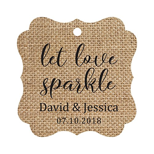 Darling Souvenir Personalized Fancy Frame Paper Tags Wedding Sparklers Let Love Sparkle Custom Hang Tags-Burlap-100 Tags