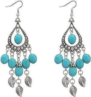 Yellow Chimes Turkish Bohemian Oxidized Silver Drop Earrings for Women (Blue)(YCRMER-06-BL)