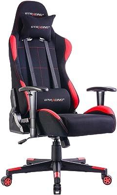 Gtracing ゲーミングチェア メッシュ 多機能 通気性 ゲーム用チェア オフィスチェア パソコンチェアリクライニング 事務椅子 ヘッドレスト ランバーサポート ひじ掛け付き GTBEE-RED