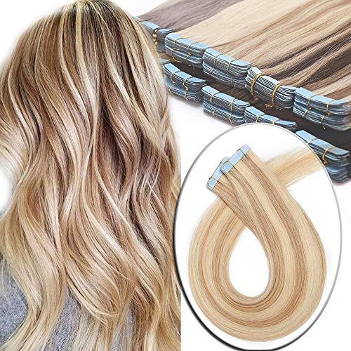 Elailite Extensiones Sin Clips Adhesivas Naturales 100% Remy Pelo Humano [2.5g *20 Unidads] 50g - 45 cm #18P613 Ash Rubio Mecha Rubio Muy Claro - Tape in Hair Extension Lisa