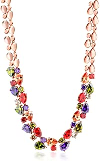 Rose Tone Multi-Color Cubic Zirconia CZ Necklace with Fold Over Clasp 18 Inch