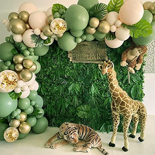 Arcos de Guirnalda Globos Verde Salvia, Sumtoco 112 piezas de Aguacate Verde Oliva con Globos de Oro Blanco para Bodas, Cumpleaños, Baby Shower, Comunion Bautizo, Fiestas Tropicales.