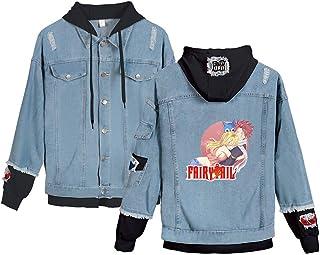 KIYOUMI Fairy Tail Anime Dril de algodón con Capucha del Invierno Ocasional otoño Chaqueta de la Capa de la Vendimia apenó Wash Denim,A,XS