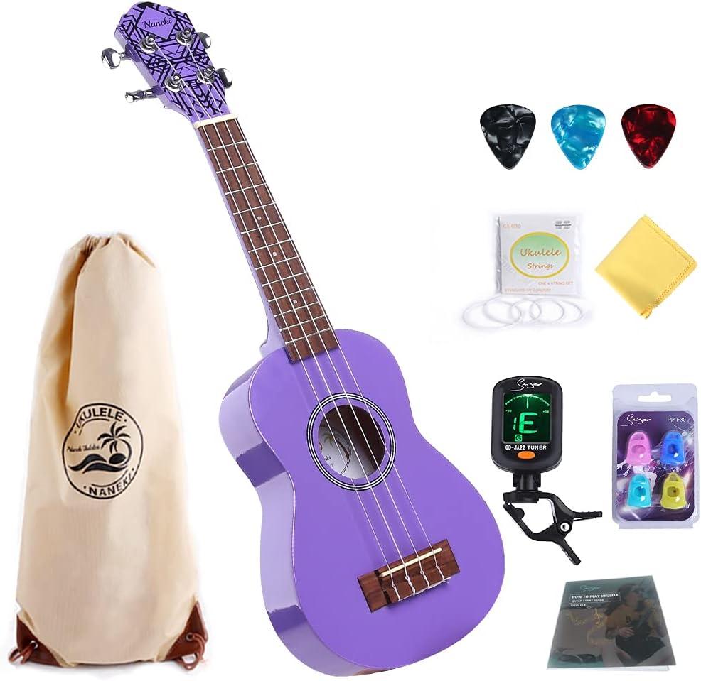Soprano Ukulele Purple 21 inch Very popular High Gui Mini Basswood Max 48% OFF Gloss Kids