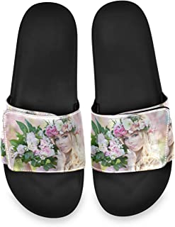Young Beautiful Blonde Woman in Blooming Garden Mens Summer Sandals Slide House Adjustable Slippers Non Slip Boys