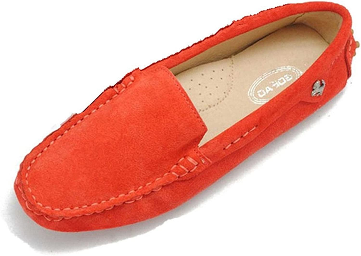 Goeao Women Casual Comfortable Basic Suede Leather Driving Moccasins Flats Slip-Ons Boat Loafers