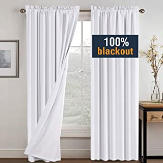 H.VERSAILTEX White Blackout Curtains for Bedroom 84 Inches Long, Waterproof Window Treatment Curtains for Living Room, Rod Pocket Curtain Panels for Patio Door with White Liner, 2 Bonus Tie-Backs