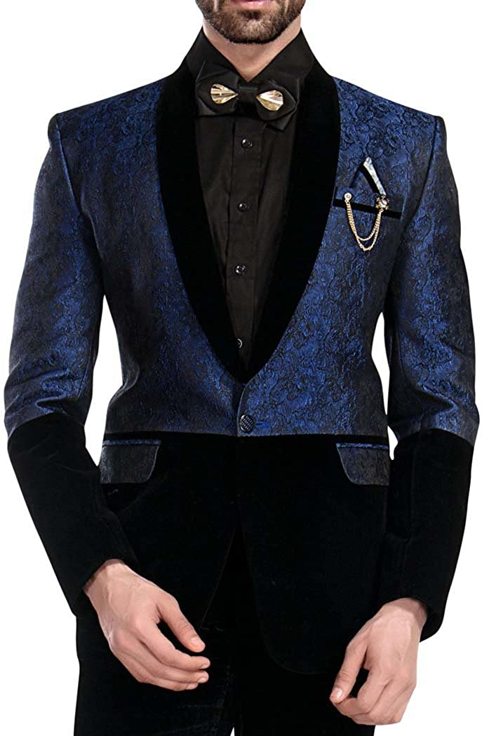 INMONARCH Mens Black and Blue Tuxedo Designer 6 Pc Suit TX1700