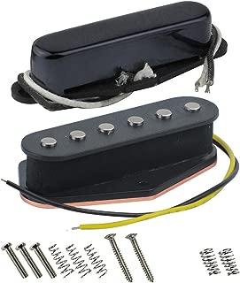 FLEOR Alnico 5 Guitar Pickups Set Tele Bridge Pickup w/Neck Pickup (Black) Fit Fender Telecaster Pickups Part