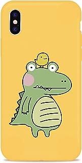 JOYLAND Cute Alligator Case for iPhone 8 Plus/iPhone 7 Plus Yellow Phone Case Cartoon Crocodile Phone Bumper Skin Full Protective Anti-Scratch Yellow TPU Cover Frame compatible fr iPhone 8 Plus/7 Plus
